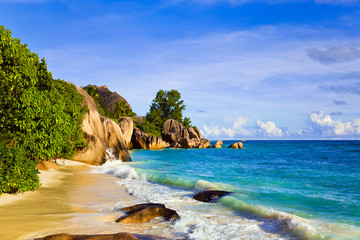 Tropical beach Source D'Argent at island La Digue, Seychelles