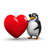 3d Love penguin
