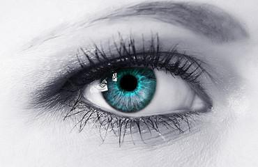 Woman blue eye closeup