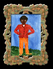 Child's drawing black boy in an elegant frame.