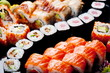 Japanese sushi rolls. View from above.