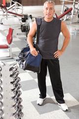 Elder man in a gym
