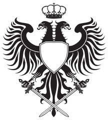 Double-headed eagle with crown and swords