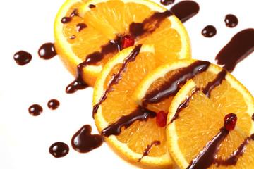 Fruit  orange with chocolate glaze
