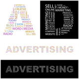ADVERTISING. Illustration with different association terms. poster