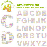 ADVERTISING. Wordcloud alphabet with association terms. poster