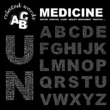 MEDICINE. Alphabet. Illustration with association terms. poster