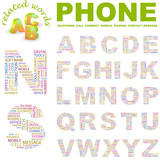 PHONE. Wordcloud alphabet with different association terms. poster