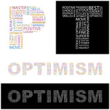OPTIMISM. Word collage.