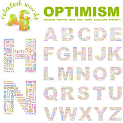 OPTIMISM. Wordcloud alphabet with different association terms.