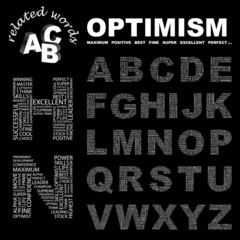OPTIMISM. Alphabet. Illustration with association terms.