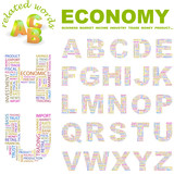 ECONOMY. Wordcloud alphabet with different association terms. poster