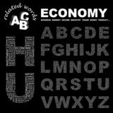 ECONOMY. Alphabet. Illustration with association terms. poster