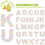 INFORMATION. Wordcloud alphabet with association terms. poster
