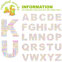 INFORMATION. Wordcloud alphabet with association terms.