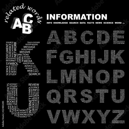 INFORMATION. Alphabet. Illustration with association terms.