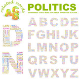 POLITICS. Vector letter collection. Wordcloud illustration. poster
