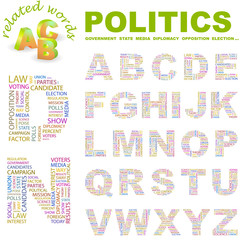 POLITICS. Vector letter collection. Wordcloud illustration.
