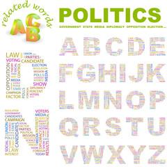 POLITICS. Vector letter collection. Wordcloud illustration.