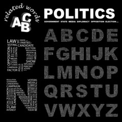 POLITICS. Alphabet. Illustration with association terms.