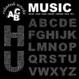 MUSIC. Alphabet. Illustration with different association terms. poster