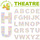 THEATRE. Wordcloud alphabet with different association terms. poster