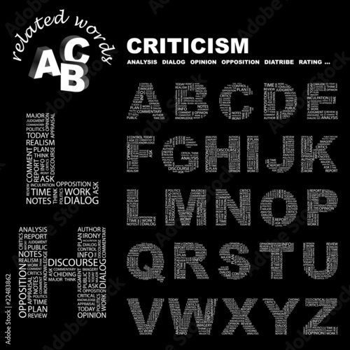 CRITICISM. Alphabet. Illustration with association terms.