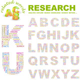 RESEARCH. Wordcloud alphabet with different association terms. poster