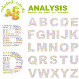 ANALYSIS. Wordcloud alphabet with different association terms. poster