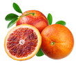 Sicilian red oranges on a white background