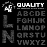 QUALITY. Alphabet. Illustration with association terms. poster