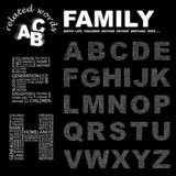 FAMILY. Alphabet. Illustration with different association terms. poster