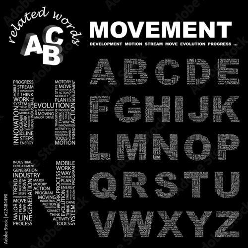 MOVEMENT. Vector letter collection.