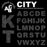 CITY. Alphabet. Illustration with different association terms. poster