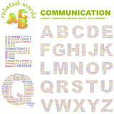 COMMUNICATION. Alphabet. Illustration with association terms. poster