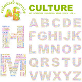 CULTURE. Wordcloud alphabet with different association terms. poster