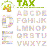 TAX. Alphabet. Illustration with different association terms. poster