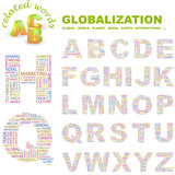 GLOBALIZATION. Wordcloud alphabet with association terms. poster