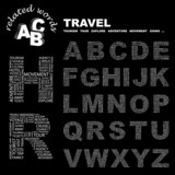TRAVEL. Alphabet. Illustration with different association terms. poster