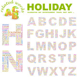 HOLIDAY. Wordcloud alphabet with different association terms. poster