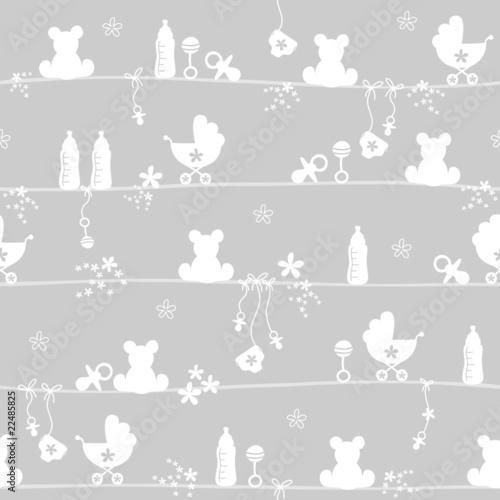 Seamless Pattern Baby Symbols Grey - 22485825