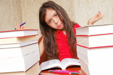 Girl exhausted by homework