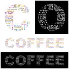 COFFEE. Wordcloud vector illustration.