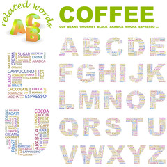 COFFEE. Vector letter collection. Wordcloud illustration.
