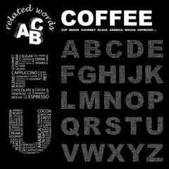 COFFEE. Alphabet. Illustration with different association terms.
