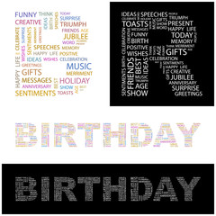 BIRTHDAY. Wordcloud vector illustration.