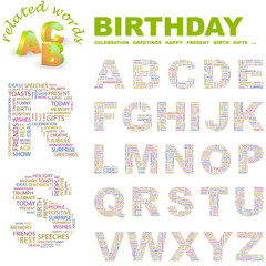 BIRTHDAY. Wordcloud alphabet with different association terms.