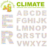CLIMATE. Vector letter collection. Wordcloud illustration. poster