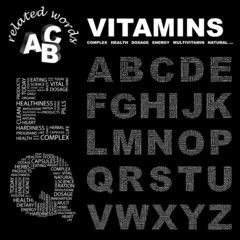 VITAMINS. Vector letter collection.