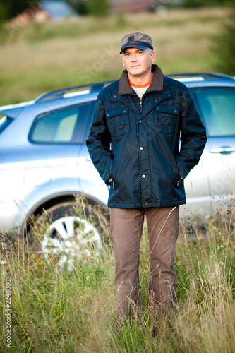 man and car as the background